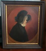 Oil Painting Rare Early Primitive Woman 1800s Antique Collectible Fine Art Frame