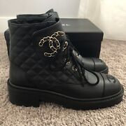 New Authentic Black Quilted Cc Chain Combat Lace Up Boots Size 39