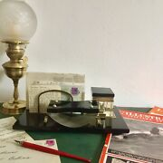 Letter Vintage Years 30 Deco In Marble Glass Brass Organizer Desk Anti