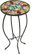 Outdoor Bistrotable Furntiure End Side Accent Patio Round Black Glass Metal New