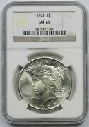 1925 1 Ngc Ms 65 Peace Silver Dollar