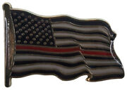 Pack Of 24 Usa Thin Red Line Fire Dept Memorial Waving Hat Cap Lapel Pin