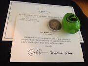 2009 Obama White House Easter Egg Green + Coin + Welcome Baby + Birthday Card