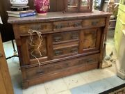 Antique Eastlake Sideboard Server Marble Top Dining Room Server Victorian Era