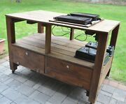 Red Cedar Bbq Grill Stand W/2 Weber Portable Charcoal Grills Summer Fun And Yum