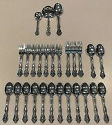 Oneida Michelangelo Flatware Lot 27 Pc Stainless Marked Oneida Cube Stainless