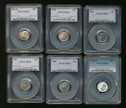 6 - Pcgs Certified Ms66 Us Roosevelt Silver 10c Dimes            Aa