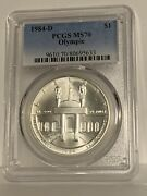 Rare Bright White 1984-d Olympic Pcgs Ms70 Silver Dollar 1 Los Angeles
