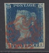 Sg 2 1840 2d Deep Full Blue Plate 2 Lettered Ii. Very Fine Used With A Red