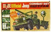 Vintage 1965 Gi Joe Official Combat Jeep W/trailer 106mm Moto-rev And Box Works