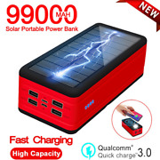 99000mah Backup External Battery Solar Power Bank Pack Charger For Cell Phones