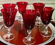 6 Ruby Red Bell Shaped 12 Oz. Water / Wine Goblets With Clear Glass Stems Mint