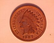 1907 Indian Head Penny Gem/unc Lots Of Red 4 Diamonds - 504-1