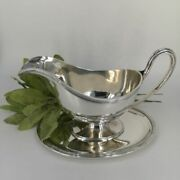 Big Sauceboat With Tray In Solid Sterling Silver 1918 Clan Munro
