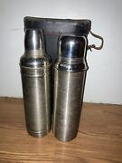 Pair Vintage 1910 American Thermos Bottle Co. Metal With Corks And Carrying Case