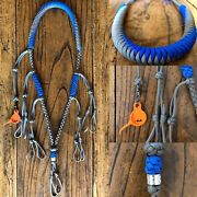 Paracord Duck Goose Waterfowl Call Lanyard Blue And Grey With Orange Finisher