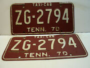 1970 Tennessee License Plate  Zg - 2794 Taxi-cab  Pair  Vintage As5031