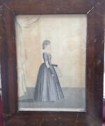 J Evans C. 1840 New Hampshire Primitive Folk Painting Young Woman Holding Music