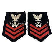 Pair Of Ww2 Us Navy Red White Blue Motor Machinistand039s Mate M O Patches
