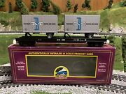 ✅mth Premier Boston Maine Flat Car W/ 20' Pup Trailers 20-98411 O Scale Freight
