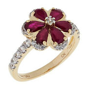Hsn Passport To Gold 14k Ruby And White Zircon Flower Ring Size 6 699