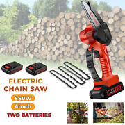 6'' Cordless Electric Chainsaw Wood Cutter Mini One-hand Saw Woodworking+battery