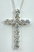 2.00 Ct Diamond Cross Pendant Necklace 14k White Gold 1.30 Inch Tall Video