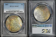 2 Coin Set 1887 Morgan Dollars Pcgs Ms-65 End Of Roll Rainbow Toning
