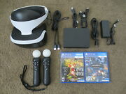 Sony Playstation Vr Bundle Headset+2 Motion Wands+camera+2 Games Lot Ps4 Moss V2