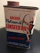 1950and039s Pol-mer-ik Linseed Oil Pint Tin Can Archer Daniels Advertising