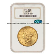 1904 20 Liberty Head Ngc Ms64 Cac Certified Gold Double Eagle Choice Coin
