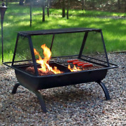 Outdoor Wood Burning Fire Pit Bbq Cooking Grill Unique Large Rectangle Cute Cage