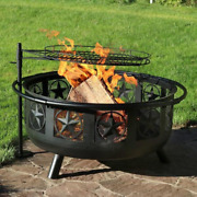 Outdoor Wood Burning Fire Pit Bbq Cooking Grill Large Unique Star Round Cage