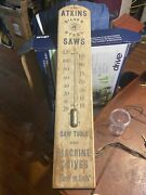 """Vintage Rare Atkins Silver Steel Saws Wooden Thermometer 36""""hx7""""w"""