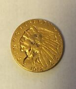 1912 Indian Head Quarter Eagle Gold Coin Xf Cleaned 2.50 2 1/2 2.5 2.50