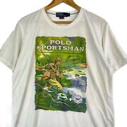 Vintage 90andrsquo Polo Sportsman Usa Magazine Outdoor Fishing Full Graphic Tee Shirt