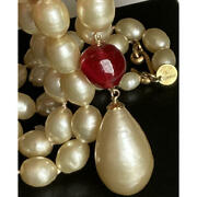 Necklace White Baroque Pearl Beaded Teardrop And Red Glass Charm Vintage
