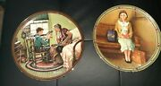 2 Norman Rockwell 8 Decorative Display Plates 1985, 1989 With Hanging Hardware