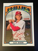 Alec Bohm 2021 Topps Heritage Real One Red Ink Autograph Rookie Auto 27/72 Rare