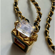 Necklace Gold Plated Chain Black Leather No.5 Perfume Bottle Case Pendant