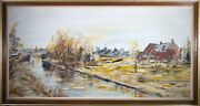 B.w.w. - Large 1976 Oil Doris Croft From The Canal Side
