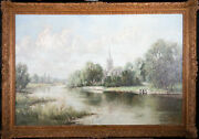 Rowland Henry Hill 1873-1952 - Early 20th Century Oil Church By The River