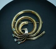 Elegant Antique Art Deco Blue Topaz Yellow And White 14k 585 Gold Brooch Pin 1.75