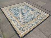 Vintage Hand Made French Design Original Wool Green Aubusson Tapestry 165x182cm
