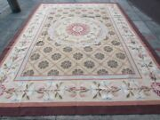 Old Hand Made French Design Wool Beige Brown Green Original Aubusson 370x272cm