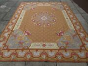 Vintage Hand Made French Design Wool Brown Gold Original Aubusson 308x245cm