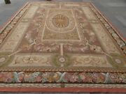 Vintage Hand Made French Design Wool Brown Pink Blue Original Aubusson 410x305cm