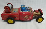 Salvage Vintage Tin Toy Fire Truck Tn Japan For Parts, Repair Or Rat Rod Fd-17