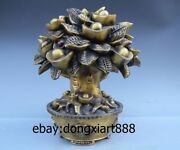 Chinese Copper Brass Fengshui Wealth Treasure Bowl Money Tree Saving Pot Statue
