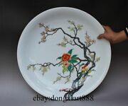 Chinese Wucai Porcelain Pottery Peony Plum Blossom Painting Tray Plate Salver